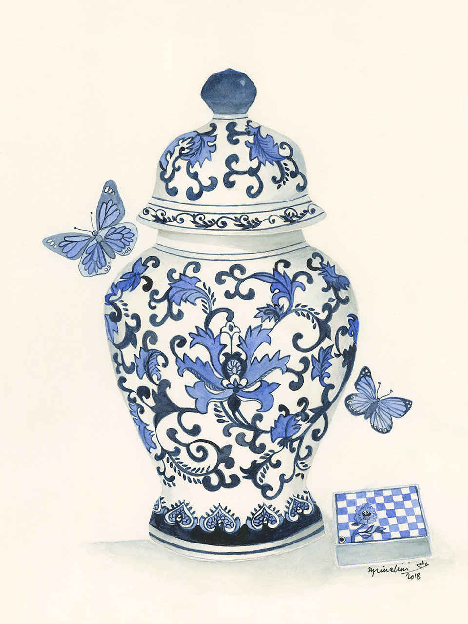 Blue and White Ginger Jar, with Butterflies and Box.